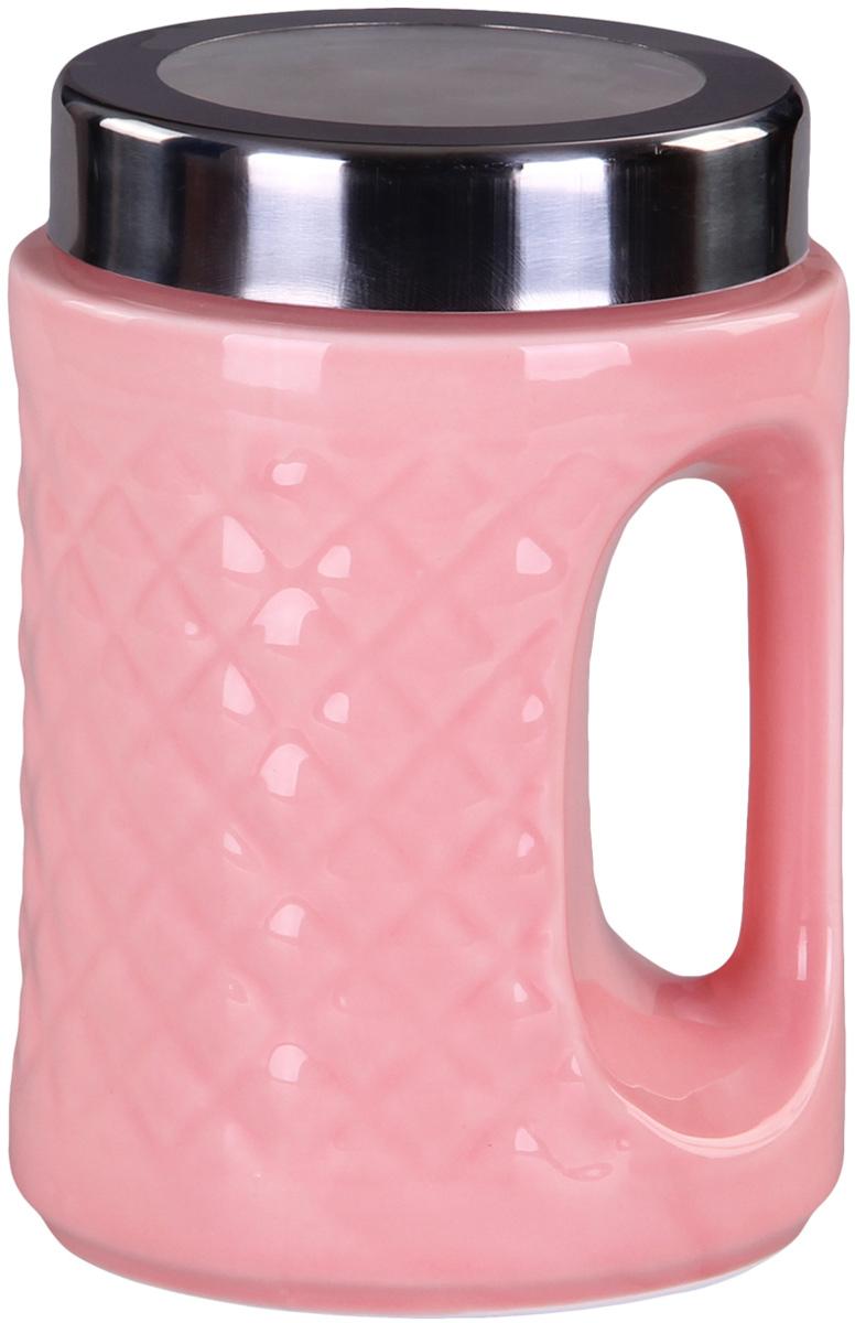 Банка для сыпучих продуктов Patricia, цвет: розовый, высота 18 смVT-1520(SR)Банка для сыпучих продуктов Patricia выполнена из глазурованной керамики высокого качества и оформлена рельефом. Банка снабжена плотно закрывающейся крышкой и удобной ручкой. Она идеально подойдет для хранения чая, кофе, сахара, круп и других сыпучих продуктов. Прозрачная вставка в крышке позволяет видеть содержимое. Изделие сохраняет продукты свежими и ароматными на длительное время. Функциональная и вместительная, такая банка станет незаменимым аксессуаром и стильно оформит интерьер кухни.Высота банки: 18 см.