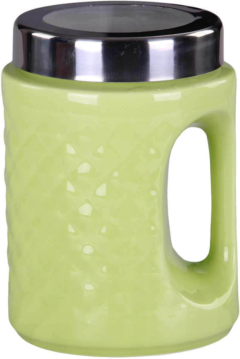 Банка для сыпучих продуктов Patricia, цвет: зеленый, высота 18 смVT-1520(SR)Банка для сыпучих продуктов Patricia выполнена из глазурованной керамики высокого качества и оформлена рельефом. Банка снабжена плотно закрывающейся крышкой и удобной ручкой. Она идеально подойдет для хранения чая, кофе, сахара, круп и других сыпучих продуктов. Прозрачная вставка в крышке позволяет видеть содержимое. Изделие сохраняет продукты свежими и ароматными на длительное время. Функциональная и вместительная, такая банка станет незаменимым аксессуаром и стильно оформит интерьер кухни.Высота банки: 18 см.