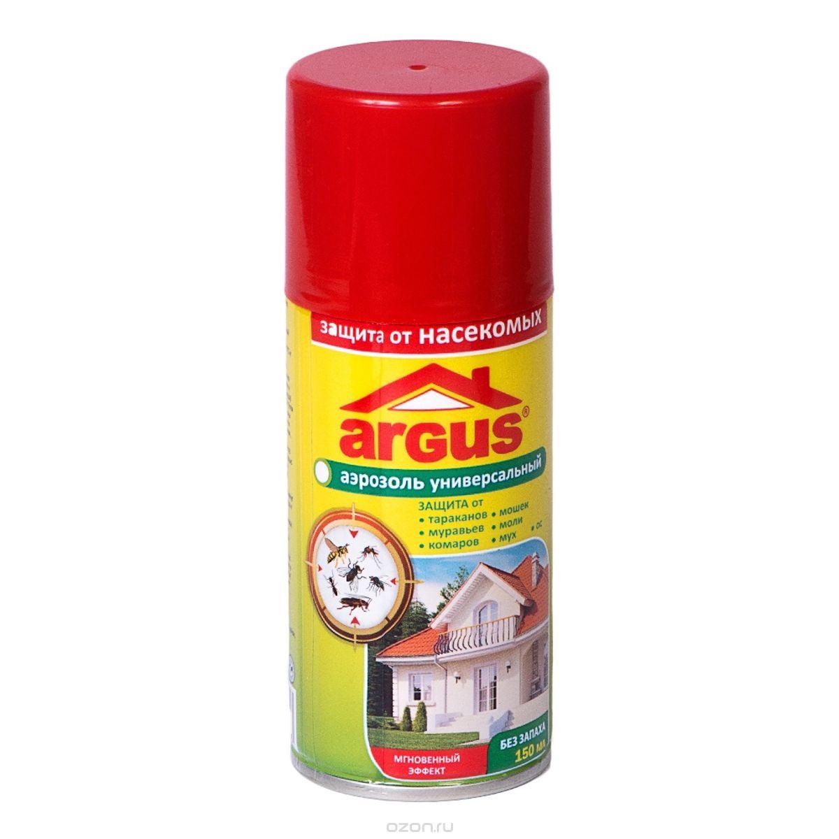 Аэрозоль от кровососущих насекомых Argus, 150 мл741748Универсальный аэрозоль Argus используется для защиты от кровососущих насекомых (комаров, клещей, мокрецов, москитов, мошек) при обработке одежды, занавесей, противомоскитных сеток и другого снаряжения из ткани. Товар сертифицирован.