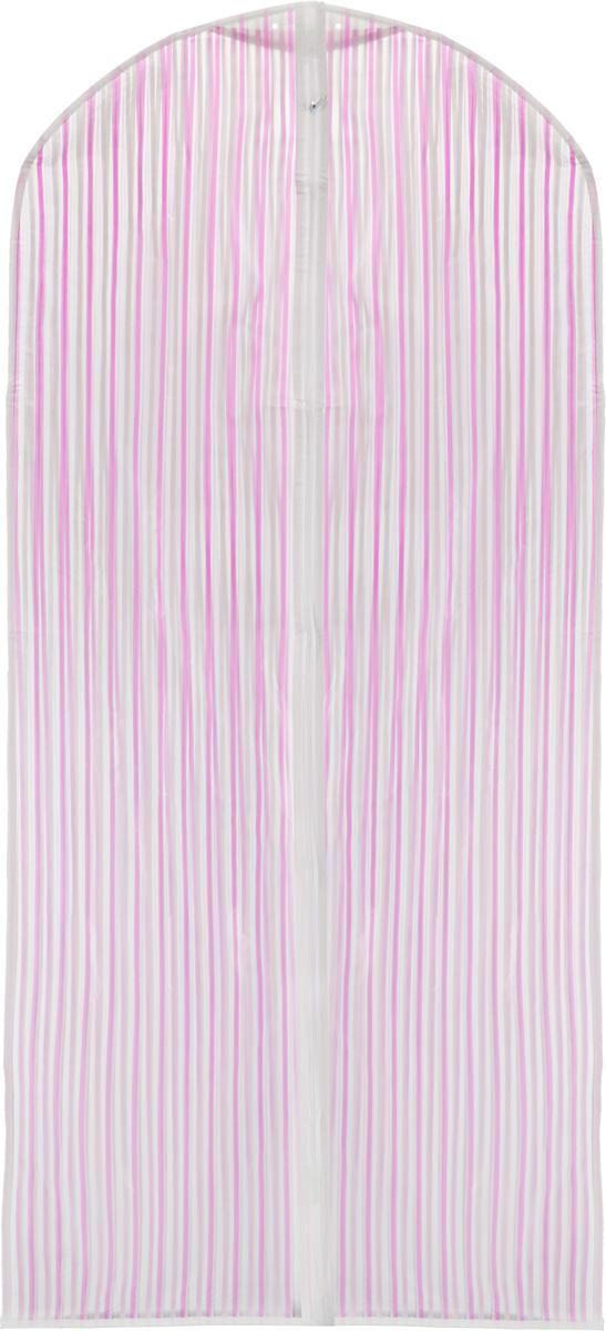 Чехол для одежды Eva, цвет: розовый, белый, 135 х 60 см. Е-1630174-0120Прочный водонепроницаемый чехол для одежды Eva выполнен из материала пэва (политиленвинилацетат). Изделие станет незаменимым приобретением для перевозки или хранения вещей. Чехол сохранит ваши вещи в отличном состоянии, а также не позволит вещам помяться. Изделие закрывается на застежку-молнию.Чехол для одежды Eva создаст уютную атмосферу в женском гардеробе. Лаконичный дизайн придется по вкусу ценительницам эстетичного хранения.Не содержит хлора.