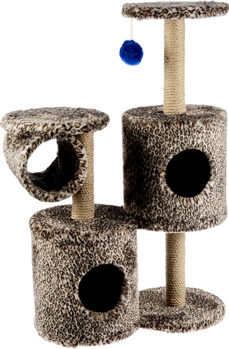Игровой комплекс для кошек ЗооМарк Базилио, цвет: светло-коричневый, черный, бежевый, 70 х 31 х 97 см405217Игровой комплекс для кошек ЗооМарк Базилио выполнен из высококачественного дерева и обтянут искусственным мехом. Изделие предназначено для кошек. Ваш домашний питомец будет с удовольствием точить когти о специальные столбики, изготовленные из джута. А отдохнуть он сможет либо на полках разной высоты, либо в домиках. Также комплекс оснащен подвесной игрушкой, привлекающей внимание кошки.Общий размер: 70 х 31 х 97 см.Размер домиков: 31 х 31 х 32 см.Диаметр полок: 31 см.