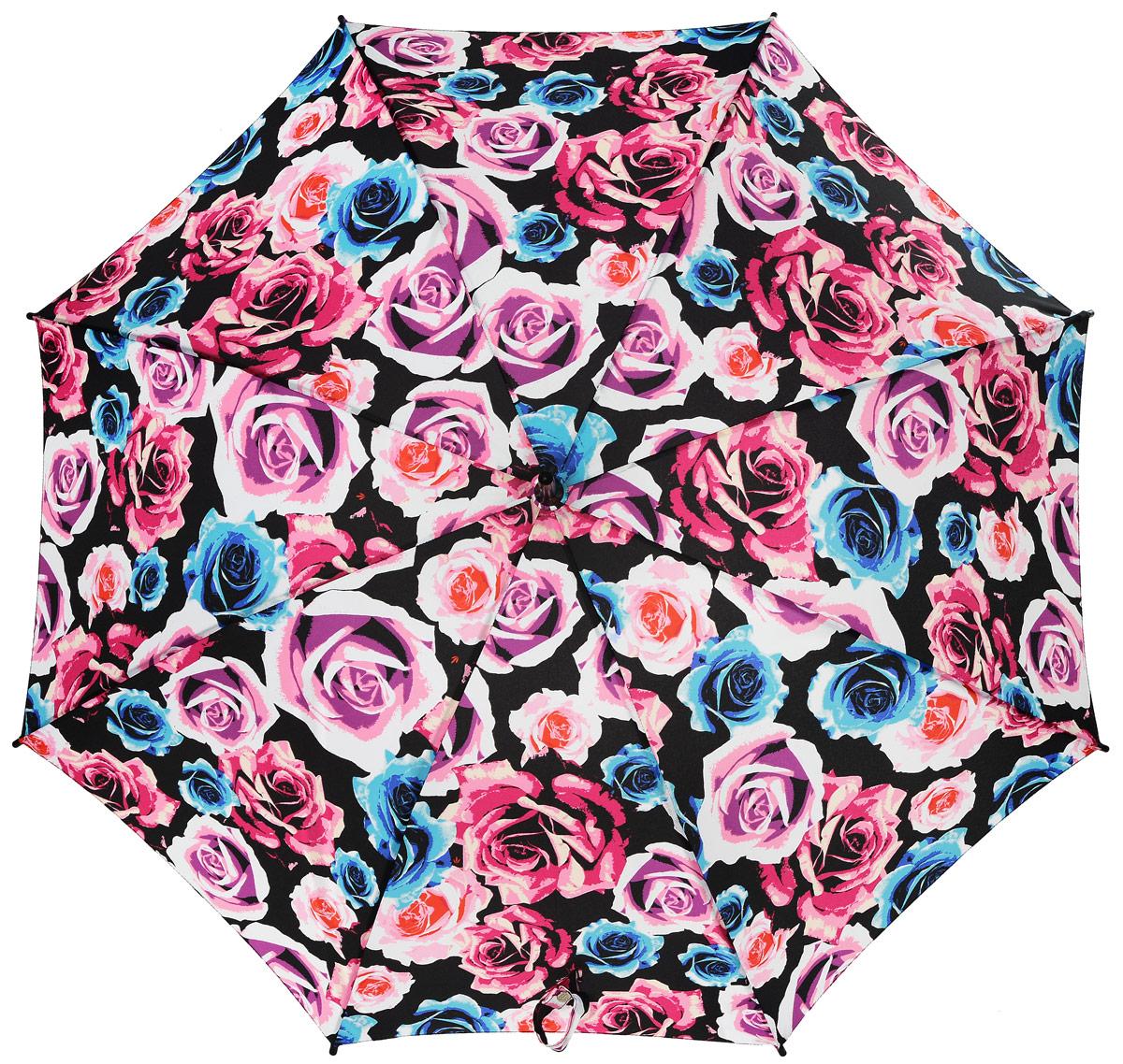 Зонт-трость женский Fulton, механический, цвет: черный, розовый. L056-3040CX1516-50-10Стильный зонт-трость Fulton даже в ненастную погоду позволит вам оставаться стильной и элегантной. Каркас зонта включает 8 спиц из фибергласса и состоит из стержня, изготовленного из прочной и ветроустойчивой стали. Купол зонта выполнен из высококачественного полиэстера.Рукоятка закругленной формы, разработанная с учетом требований эргономики, изготовлена из натурального дерева.Зонт механического сложения: купол открывается и закрывается вручную до характерного щелчка. Такой зонт не только надежно защитит вас от дождя, но и станет стильным аксессуаром, который идеально подчеркнет ваш неповторимый образ.