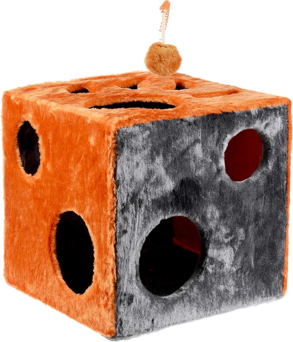 Домик для кошек ЗооМарк Кубик с лапкой, с игрушкой, цвет: оранжевый, серый, 42 х 42 х 42 см0120710Домик ЗооМарк Кубик с лапкой непременно станет любимым местом отдыха вашего домашнего животного. Он изготовлен из высококачественного дерева и обтянут искусственным мехом. Домик оформлен крупными отверстиями в виде лапы животного и кружков. Оригинальный домик для животных - отличное место, чтобы спрятаться. Также там можно хранить свои охотничьи трофеи. Сверху расположена игрушка на пружине.
