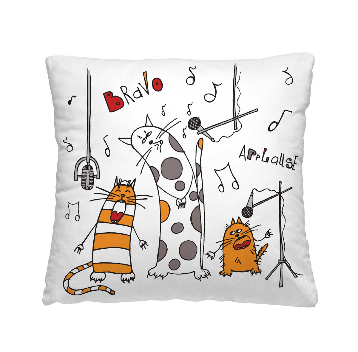Подушка декоративная Волшебная ночь Веселые коты, 40 х 40 см6113MДекоративная подушка Волшебная ночь Веселые коты прекрасно дополнит интерьер спальни или гостиной. Чехол подушки выполнен из 100% полиэстера. Лицевая сторона украшена красивым рисунком. Наполнитель - полиэстер.Красивая подушка создаст атмосферу уюта в доме и станет прекрасным элементом декора.Особенности изделия: - Съёмный чехол на молнии; - Наполнитель в индивидуальной наволочке; - Оборотная сторона из стёганого полотна для улучшения формоустойчивостиРазмер: 40 x 40 см.