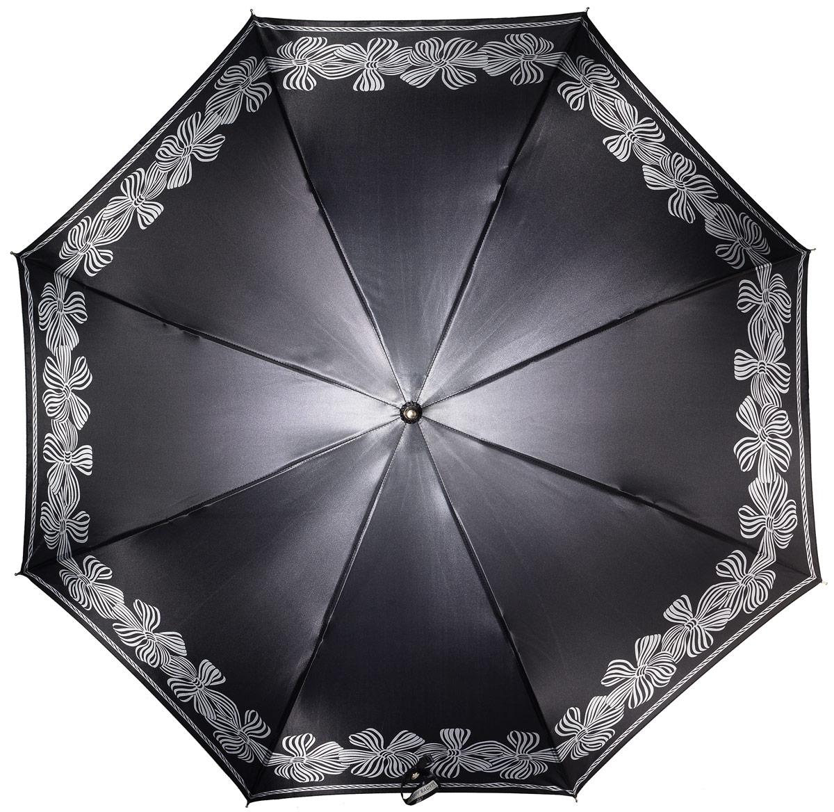Зонт женский Henry Backer, цвет: серый. U11204 BowsREM12-GREYЖенский зонт-трость «Банты» с сатиновым куполом, черный, автоматБольшой купол отлично защитит от дождя, удобная рукоять комфортно располагается в руке. Ветроустойчивый каркас выполнен из стали и фибергласса.
