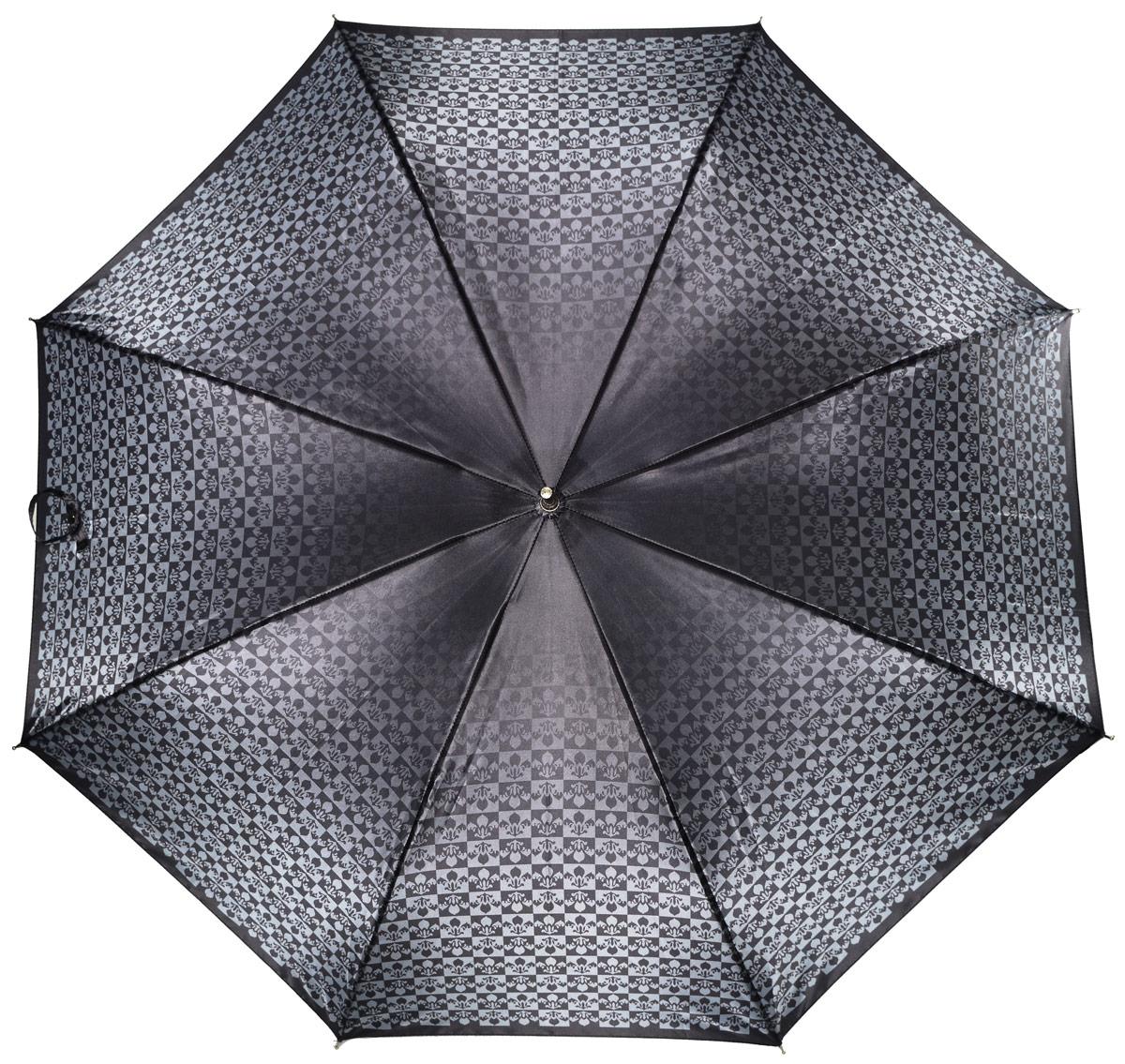Зонт женский Henry Backer, цвет: серый. U11203 Black lily45100032/35449/3537AЖенский зонт-трость «Черная лилия» с сатиновым куполом, черный, автомат У рукояти изящная и удобная форма, ветроустойчивый каркас выполнен из стали и фибергласса.