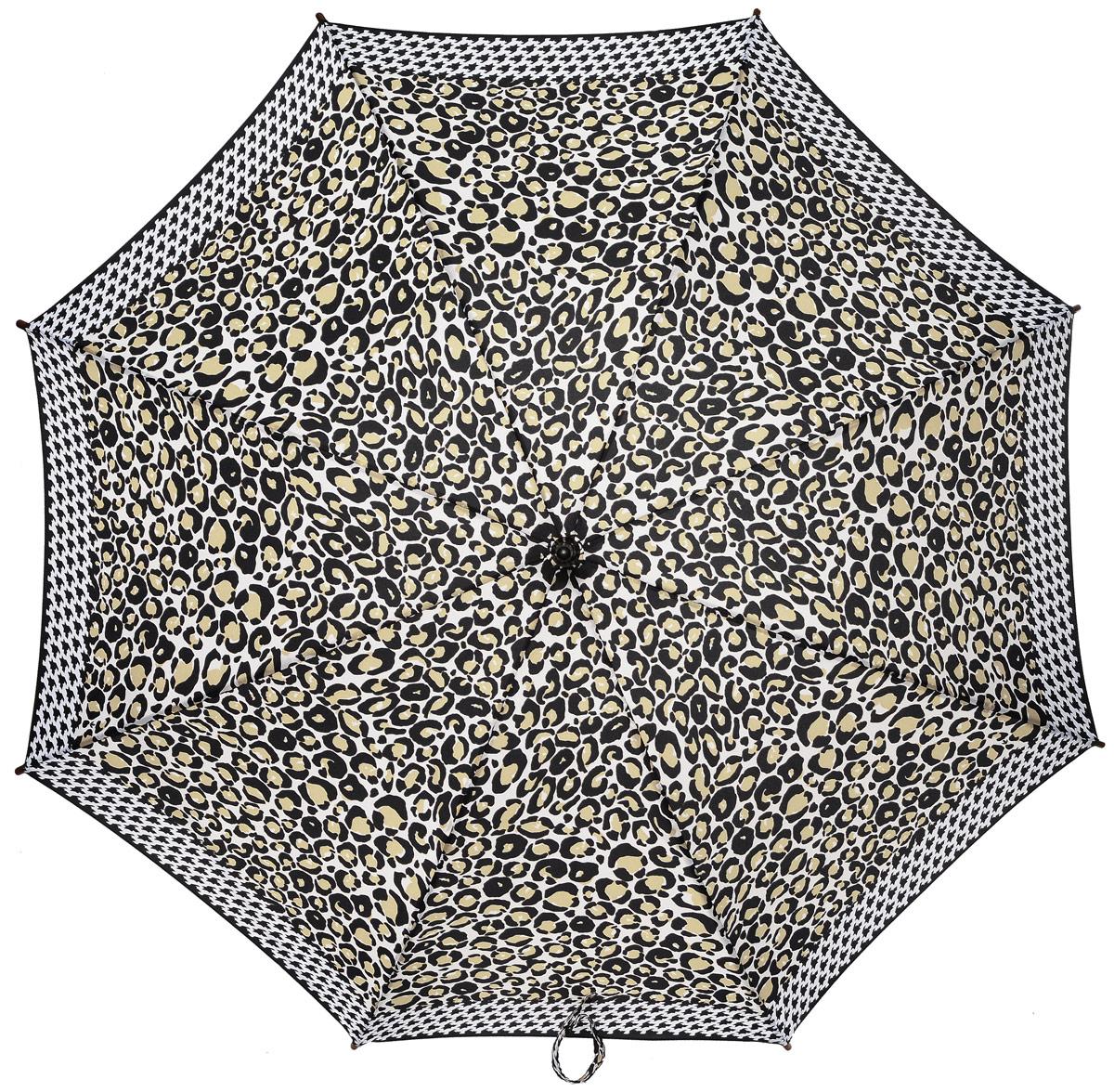 Зонт-трость женский Fulton, механический, цвет: белый, черный, бежевый. L056-3039K60K603557_0130Стильный зонт-трость Fulton даже в ненастную погоду позволит вам оставаться стильной и элегантной. Каркас зонта включает 8 спиц из фибергласса и состоит из стержня, изготовленного из прочной и ветроустойчивой стали. Купол зонта выполнен из высококачественного полиэстера.Рукоятка закругленной формы, разработанная с учетом требований эргономики, изготовлена из натурального дерева.Зонт механического сложения: купол открывается и закрывается вручную до характерного щелчка. Такой зонт не только надежно защитит вас от дождя, но и станет стильным аксессуаром, который идеально подчеркнет ваш неповторимый образ.