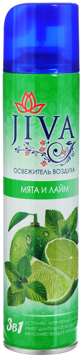 Освежитель воздуха Jiva Мята и лайм, 300 мл106-026Освежитель воздуха Jiva Мята и лайм предназначен для устранения неприятных запахов в различных помещениях. Он обладает длительным действием, надолго наполняя ваш дом благоухающим ароматами.Состав: вода >30%, пропан/бутан/изобутан >30%, парфюмерная композиция Товар сертифицирован.