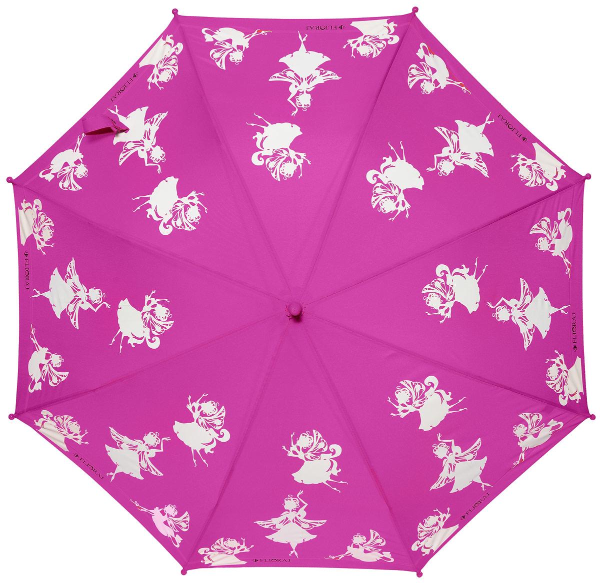 Зонт детский Flioraj, механика, трость, цвет: фуксия, белый. 051203K60K603557_0130Очаровательный зонт для детей доступен в нескольких расцветках. Маленькие феи будто случайно спустились на зонт и теперь кружатся в радужном танце. При намокании рисунок становится цветным. Зонт обязательно понравится вам и вашему ребенку! Предназначен для детей младшего и среднего школьного возраста. Безопасная технология открывания и закрывания. Спицы зонта изготовлены из долговечного, но легкого фибергласса, что делает зонт ветроустойчивым и прочным.