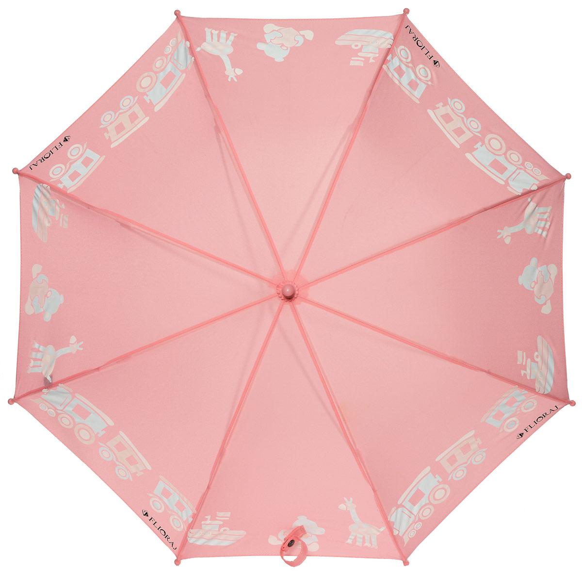 Зонт детский Flioraj, механика, трость, цвет: розовый.051212K50K503414_0010Механический прочный детский зонт - надежная защита в непогоду. Яркие цвета поднимут настроение, а интересный эффект - проявление красок на рисунке, будет удивлять и радовать каждый раз! Предназначен для детей младшего и среднего школьного возраста. Безопасная технология открывания и закрывания. Спицы зонта изготовлены из долговечного, но легкого фибергласса, что делает его ветроустойчивым и прочным.