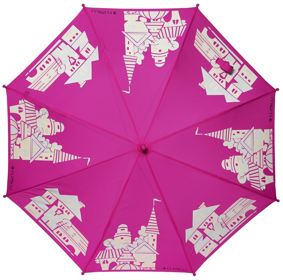 Зонт детский Flioraj, механика, трость, цвет: фуксия, белый. 051205REM12-CAM-GREENBLACKСказочный зонт-раскраска! Дождь раскрасит безликие, белые здания в радужные веселые домики. Под таким зонтом дождь только в радость. Широкий выбор расцветок позволит найти подходящий вариант. При намокании рисунок на зонте становится цветным, что обязательно понравится вам и вашему ребенку! Предназначен для детей младшего и среднего школьного возраста. Безопасная технология открывания и закрывания зонта. Спицы изготовлены из долговечного, но легкого фибергласса, что делает зонт ветроустойчивым и прочным
