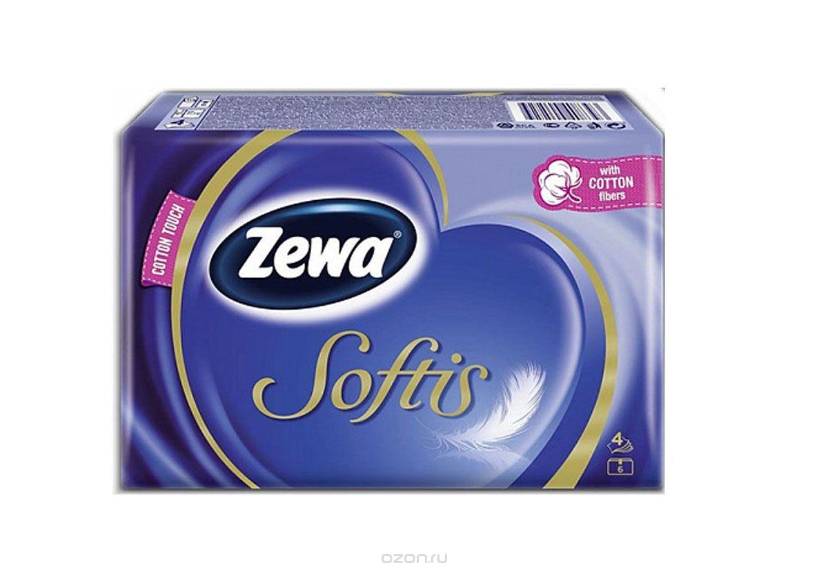 Носовые платки Zewa Softis Белые, 6 х 10 шт