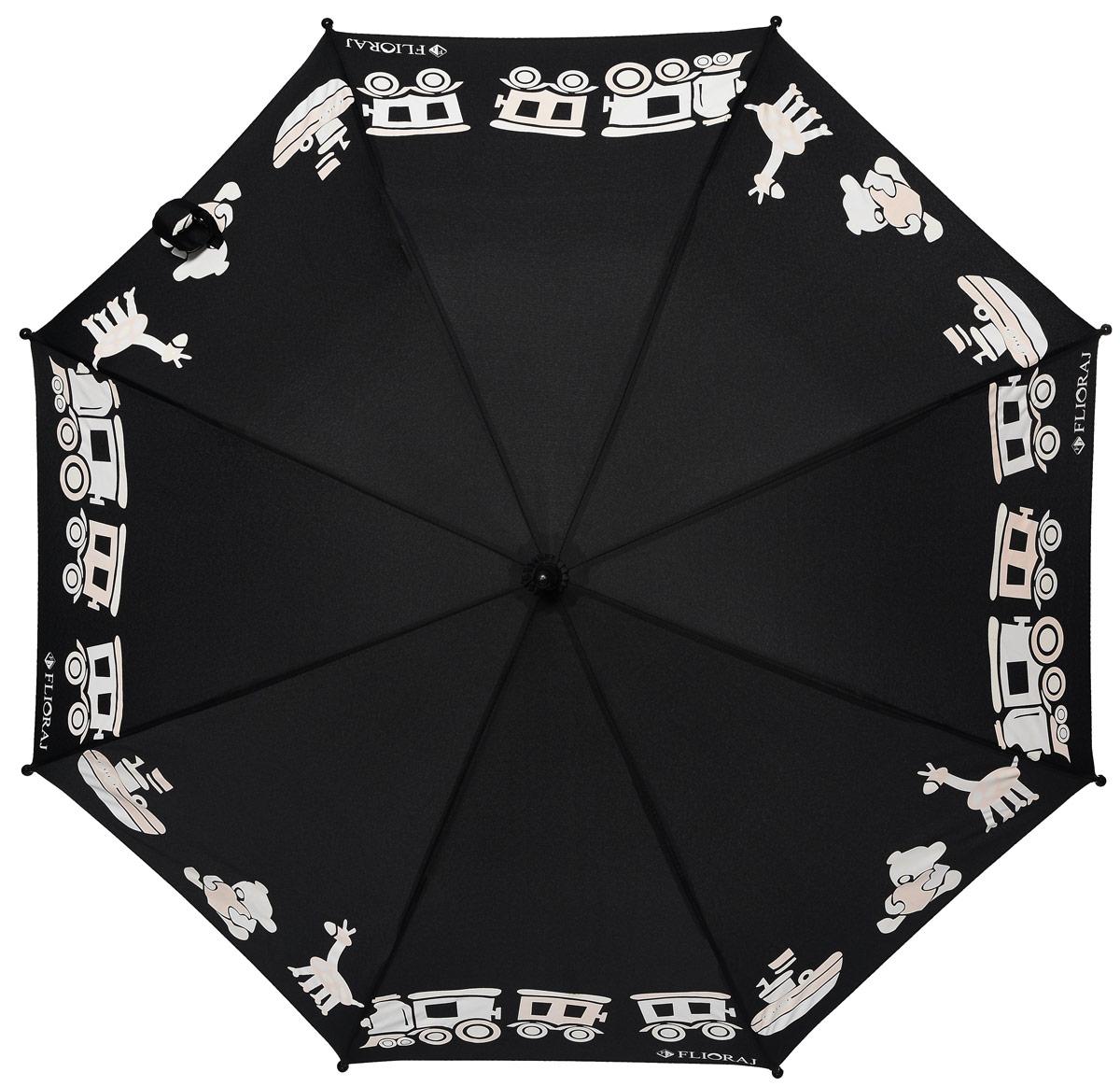 Зонт детский Flioraj, механика, трость, цвет: черный, белый. 051209П250071001-22Механический, прочный детский зонт - надежная защита в непогоду. Яркие цвета поднимут настроение, а интересный эффект - проявление красок на рисунке - будет удивлять и радовать каждый раз! Предназначен для детей младшего и среднего школьного возраста. Для удобства предусмотрена безопасная технология открывания и закрывания зонта. Спицы зонта изготовлены из долговечного, но при этом легкого фибергласса, что делает его ветроустойчивым и прочным.