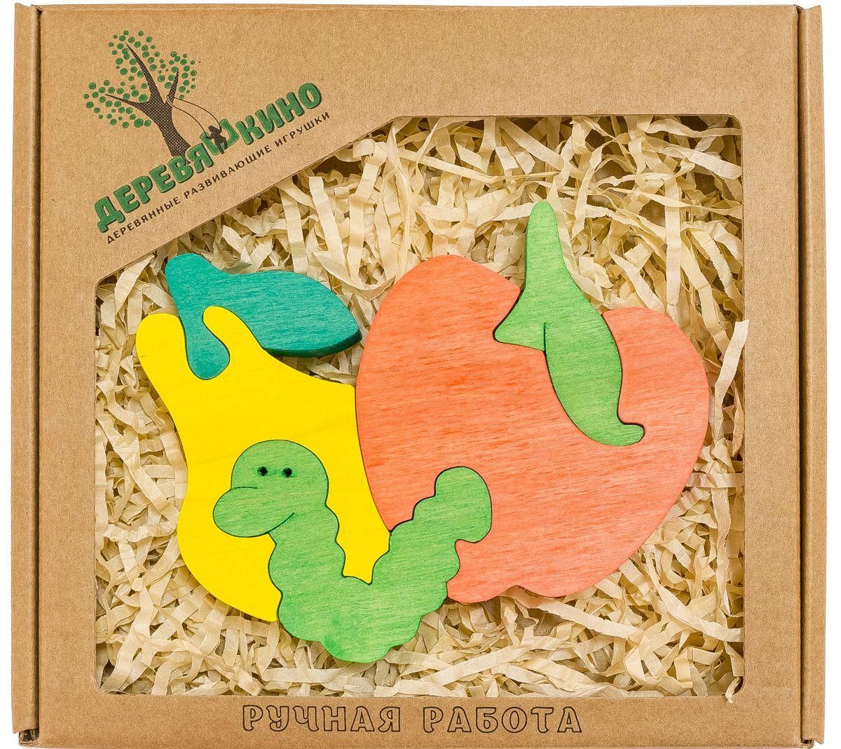 Деревяшкино Пазл для малышей Червячок и фрукты нескучный кубик пазл для малышей фрукты