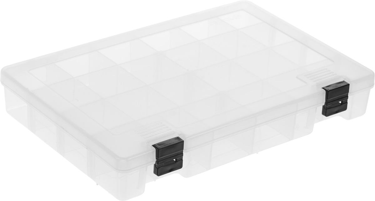 Коробка для мелочей Trivol, цвет: прозрачный, 27,4 х 18,8 х 4,5 смRG-D31SКоробка для мелочей Trivol, выполненная из прочного полипропилена (пластика), отлично подойдет для хранения канцелярских принадлежностей дома или в офисе, аксессуаров для шитья и рукоделия, болтов и гаек, а также принадлежностей для рыбалки и других видов хобби. Изделие имеет прочные съемные разделители, с помощью которых можно регулировать количество ячеек. Прозрачный материал позволяет видеть содержимое. Крышка коробки плотно закрывается на 2 защелки. Коробка легко моется и чистится. Она поможет держать ваши вещи в порядке. Размер ячейки: 4,5 х 4,5 х 4 см.