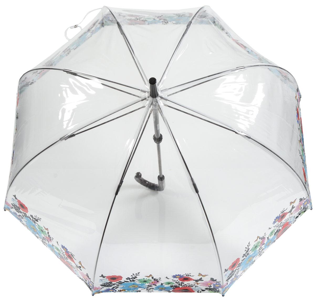 Зонт-трость женский Fulton, механический, цвет: прозрачный, мультиколор. L042-316545100636-1/18466/4900NСтильный зонт-трость Fulton даже в ненастную погоду позволит вам оставаться стильной и элегантной. Каркас зонта включает 8 спиц из фибергласса и состоит из стержня, изготовленного из прочной и ветроустойчивой стали. Купол зонта выполнен из качественного ПВХ.Рукоятка закругленной формы, разработанная с учетом требований эргономики, изготовлена из пластика.Зонт механического сложения: купол открывается и закрывается вручную до характерного щелчка. Такой зонт не только надежно защитит вас от дождя, но и станет стильным аксессуаром, который идеально подчеркнет ваш неповторимый образ.