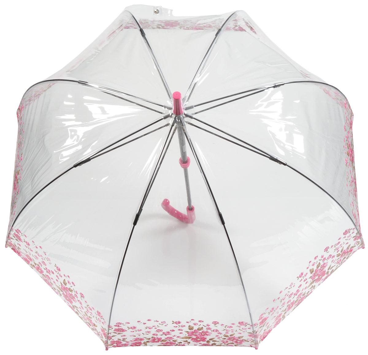 Зонт-трость женский Fulton, механический, цвет: прозрачный, розовый. L042-264345100032/35449/3537AСтильный зонт-трость Fulton даже в ненастную погоду позволит вам оставаться стильной и элегантной. Каркас зонта включает 8 спиц из фибергласса и состоит из стержня, изготовленного из прочной и ветроустойчивой стали. Купол зонта выполнен из высококачественного ПВХ. Рукоятка закругленной формы, разработанная с учетом требований эргономики, изготовлена из пластика.Зонт механического сложения: купол открывается и закрывается вручную до характерного щелчка. Такой зонт не только надежно защитит вас от дождя, но и станет стильным аксессуаром, который идеально подчеркнет ваш неповторимый образ.