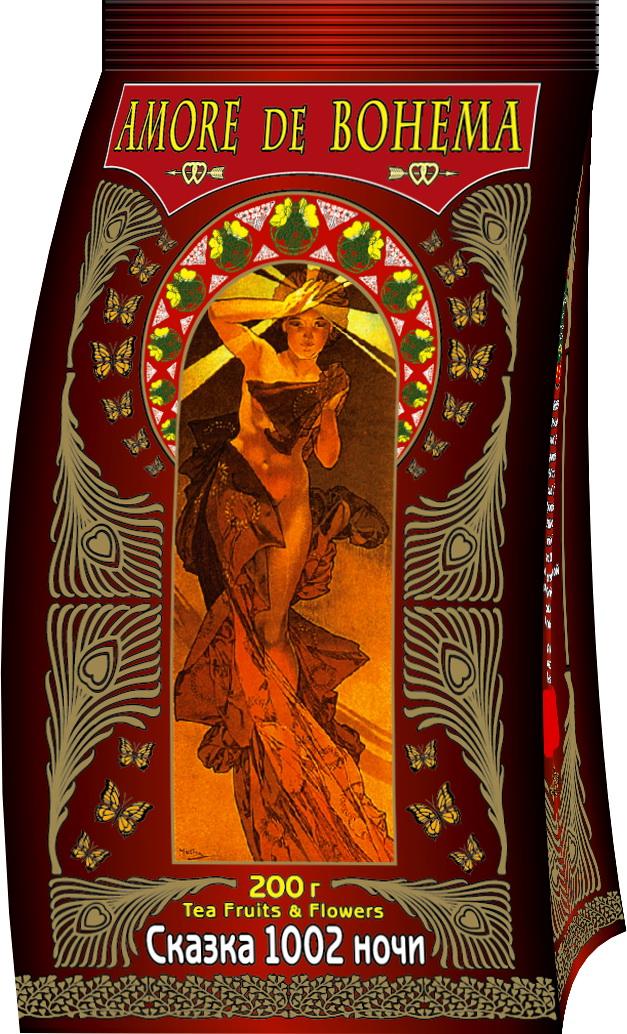 Amore de Bohema Сказка 1002 ночи ароматизированный листовой чай, 200 г101246Amore de Bohema Сказка 1002 ночи - купаж индийского чёрного и китайского зелёного крупнолистового чая с кусочками папайи, изюмом, цветками мальвы и чайной розы, ароматизированный натуральным маслом земляники и маракуйи.