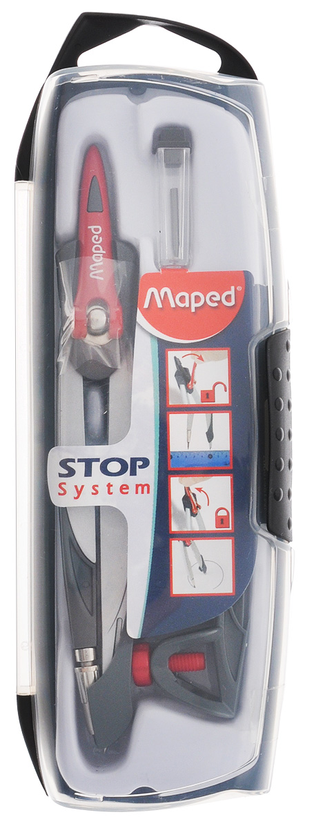 Maped Готовальня Stop System цвет серый 3 предметаPP-220Готовальня Maped Stop System подходит для средней школы.Готовальня имеет эксклюзивный дизайн. В набор входят три предмета: циркуль, запасной грифель и универсальный держатель. Запатентованный механизм Stop System фиксирует штанги в нужном положении. Игла с защитным колпачком.Готовальня упакована в ударопрочный пластиковый футляр с подвесом.