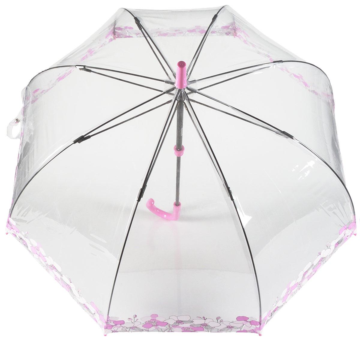 Зонт-трость женский Fulton, механический, цвет: орхидея. L042-3043K50K503414_0010Стильный зонт-трость Fulton даже в ненастную погоду позволит вам оставаться стильной и элегантной. Каркас зонта включает 8 спиц из фибергласса и состоит из стержня, изготовленного из прочной и ветроустойчивой стали. Купол зонта выполнен из качественного ПВХ.Рукоятка закругленной формы, разработанная с учетом требований эргономики, изготовлена из пластика.Зонт механического сложения: купол открывается и закрывается вручную до характерного щелчка.Такой зонт не только надежно защитит вас от дождя, но и станет стильным аксессуаром, который идеально подчеркнет ваш неповторимый образ.