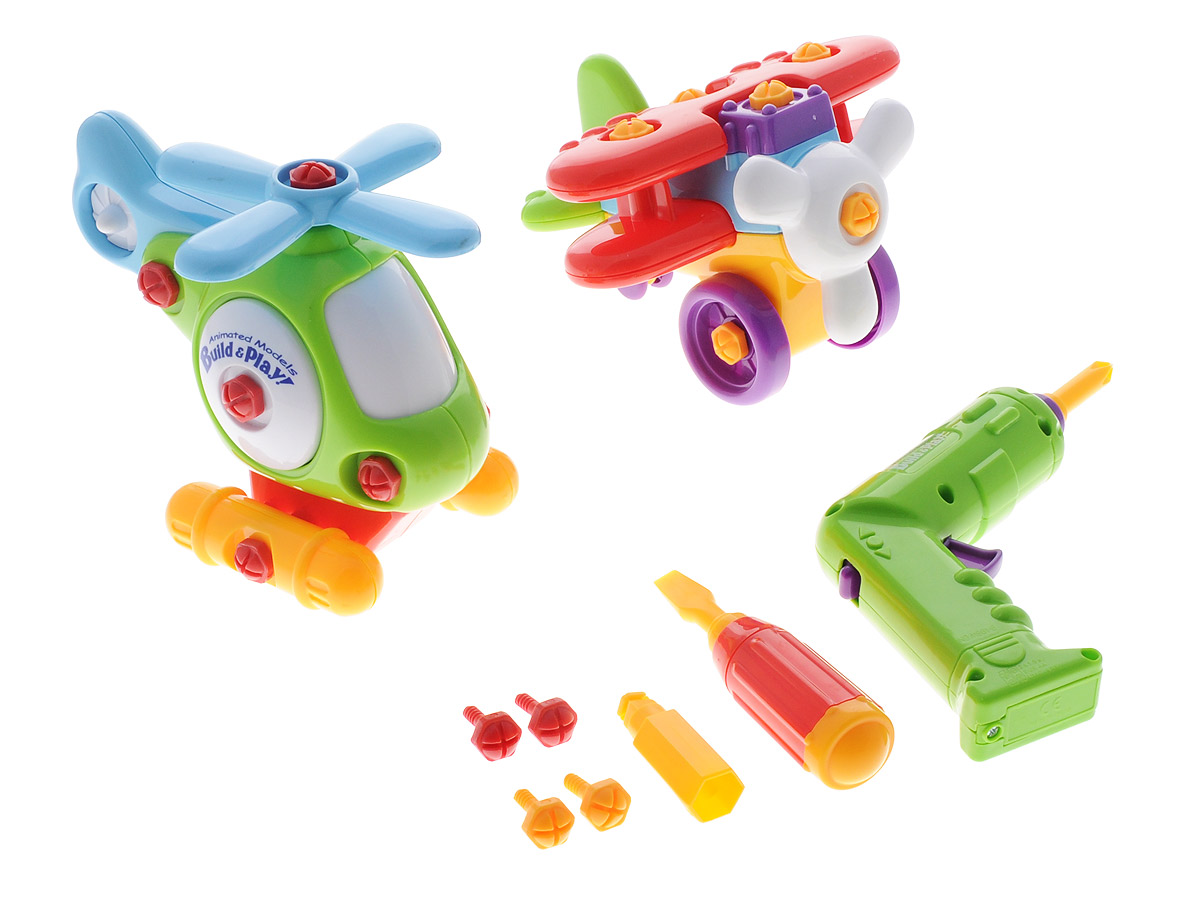 """С помощью конструктора """"Аэроплан и вертолет"""", предназначенного для детей от 3 лет, ваш ребенок сможет собрать аэроплан и вертолет. Детали конструктора не имеют острых углов, благодаря чему абсолютно безопасны для детей. Также в комплект с элементами для сборки моделей входят специальные инструменты, облегчающие процесс сборки: отвертка с различными насадками и шуруповерт. Игра с конструктором разовьет у ребенка мелкую моторику рук, воображение, координацию движений, поможет научиться следовать инструкциям."""