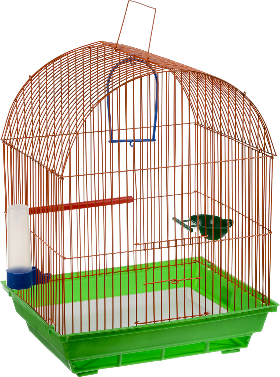 Клетка для птиц ЗооМарк, цвет: зеленый поддон, оранжевая решетка, 35 х 28 х 45 см0120710Клетка ЗооМарк, выполненная из полипропилена и металла, предназначена для мелких птиц. Вы можете поселить в нее одну или две птицы. Изделие состоит из большого поддона и решетки. Клетка снабжена металлической дверцей, которая открывается и закрывается движением вверх-вниз. В основании клетки находится малый поддон. Клетка удобна в использовании и легко чистится. Она оснащена жердочкой, кольцом для птицы, кормушкой, поилкой и подвижной ручкой для удобной переноски. Комплектация: - клетка с поддоном, - малый поддон; - кормушка; - поилка; - кольцо.
