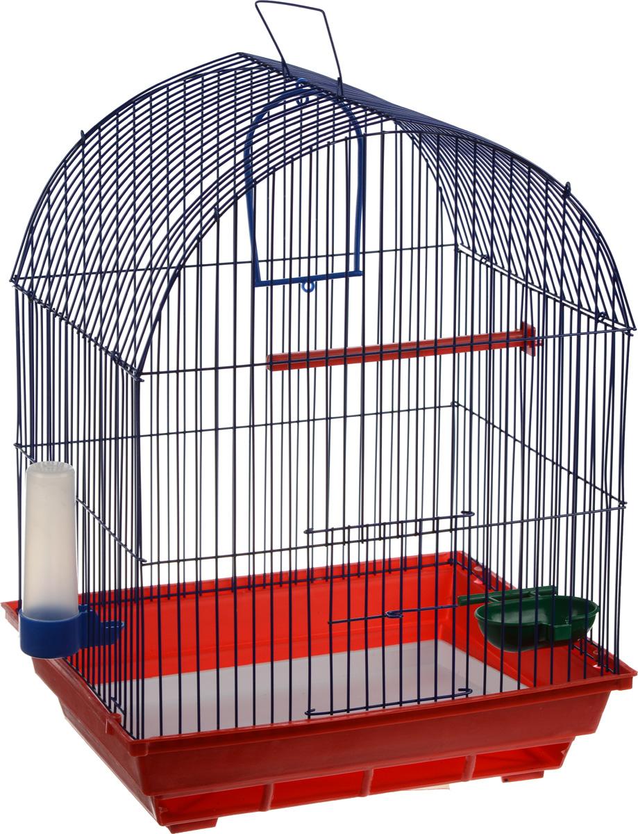 Клетка для птиц ЗооМарк, цвет: красный поддон, синяя решетка, 35 х 28 х 45 см0120710Клетка ЗооМарк, выполненная из полипропилена и металла, предназначена для мелких птиц. Вы можете поселить в нее одну или две птицы. Изделие состоит из большого поддона и решетки. Клетка снабжена металлической дверцей, которая открывается и закрывается движением вверх-вниз. В основании клетки находится малый поддон. Клетка удобна в использовании и легко чистится. Она оснащена жердочкой, кольцом для птицы, кормушкой, поилкой и подвижной ручкой для удобной переноски. Комплектация: - клетка с поддоном, - малый поддон; - кормушка; - поилка; - кольцо.