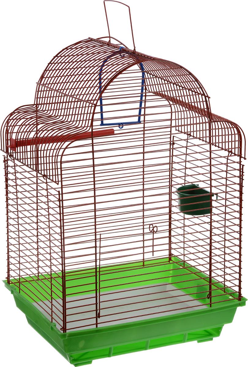 Клетка для птиц ЗооМарк Купола, цвет: зеленый поддон, красная решетка, 35 х 29 х 51 см1642DDКлетка ЗооМарк Купола, выполненная из полипропилена и металла, предназначена для мелких птиц.Изделие состоит из большого поддона и решетки. Клеткаснабжена металлической дверцей. В основании клеткинаходится малый поддон. Клетка удобна в использовании илегко чистится. Она оснащена жердочкой, кольцом дляптицы, кормушкой и подвижной ручкойдля удобной переноски. Комплектация: - клетка с поддоном, - малый поддон; - кормушка; - кольцо; - жердочка.