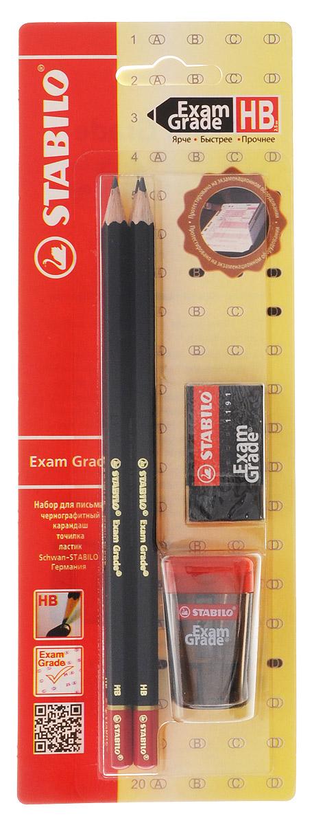 """Набор Stabilo Exam Grade, 4 предмета288/6-1ВSTABILO micro 288 """"Exam Grade"""" чернографитный карандаш. Прочный утолщенный грифель не ломается и не крошится при письме. Мягкий грифель, увеличенного диаметра, 2,5 мм, обеспечивает четкую, насыщенную линию, которая четко распознается при сканировании, Повышенная прочность к поломкам предотвращает неприятные сюрпризы на экзамене. Стильный дизайн, достойный внимания. Точилка Exam Grade. Размеры: ширина 28 x диаметр 25 x высота 45 mm Для карандашей диаметром до 8 ммС прозрачным контейнером Лезвие из высокоуглеродистой стали, твердость которой позволяет добиться такой высокой степени заточки, чтобы карандаш затачивался очень легко, оставляя тончайшую стружку Особое винтовое крепление лезвия предотвращает его расшатывание. Защита лезвия от ржавчины. Ластик Exam Grade. Легко и без следов удаляют с экзаменационных листов надписи, сделанные карандашом Micro 288 Exam Grade, поэтому при сканировании виден только окончательный ответ. Не оставляют мелкой пыли и крошек и не портят тонкую бумагу листов для тестирования. Стильные ластики черного цвета размера 40х22х11 мм. Характеристики: Твердость карандаша: НВ. Длина карандаша: 17 см. Размер стерки: 4 см х 2,2 см х 1 см. Размер точилки: 4,3 см х 2,5 см х 4,3 см. Размер упаковки: 23,5 см х 8,5 см х 3 см. 2 карандаша, ластик, точилка."""