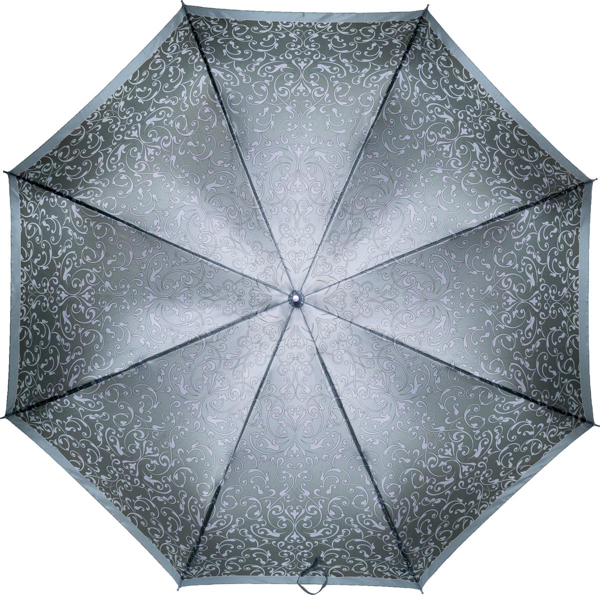 Зонт-трость женский Fabretti, механика, цвет: серый. 1603Серьги с подвескамиЖенский зонт-трость от итальянского бренда Fabretti. Конструкция модели - механика. Эксклюзивный дизайнерский принт зонта сделает вас неотразимыми в любую непогоду! Материал купола – полиэстер. Он невероятно изящен, приятен на ощупь, обладает высокой прочностью, а также устойчив к выцветанию. Эргономичная ручка сделана из высококачественного пластика!
