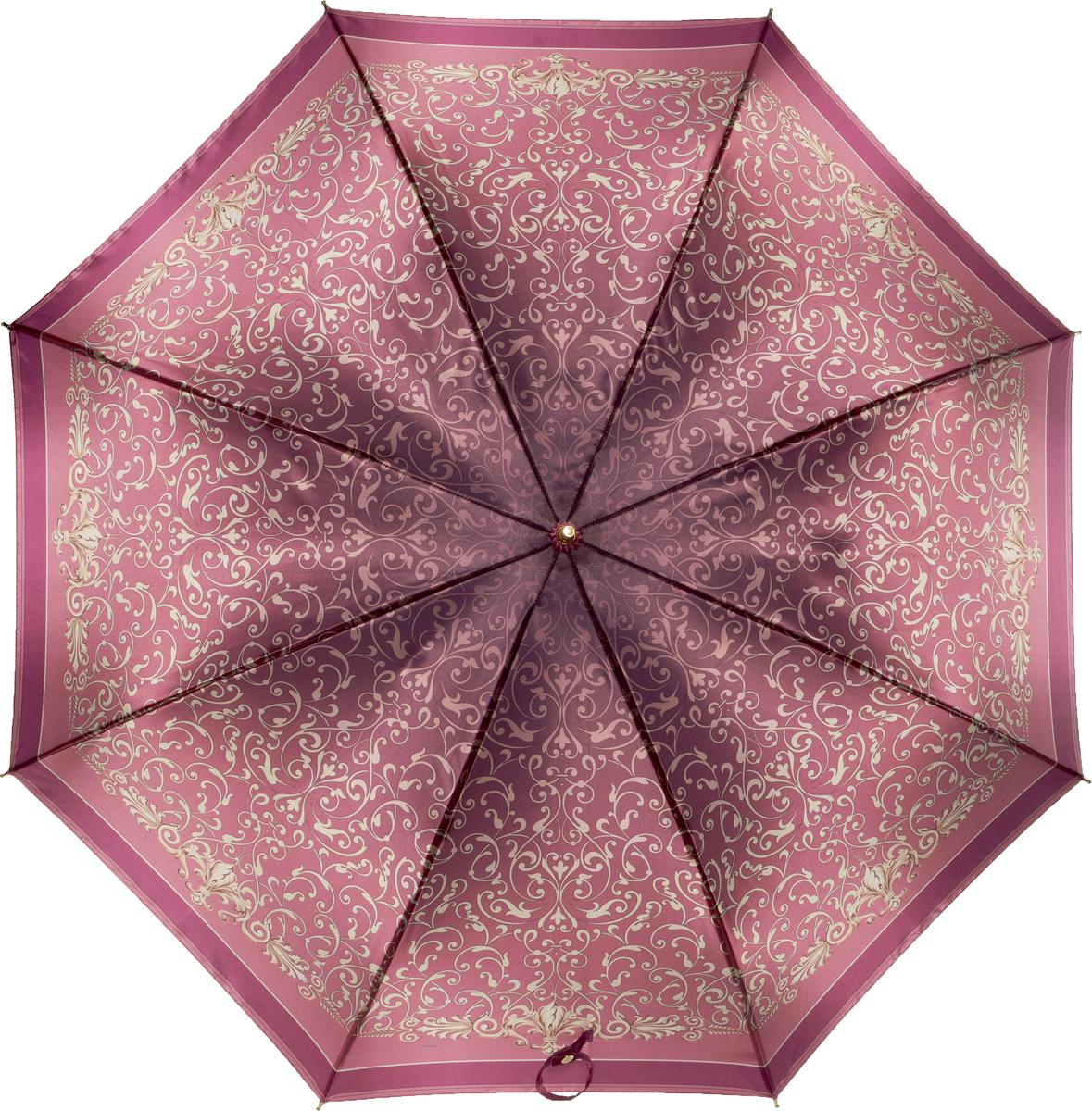 Зонт-трость женский Fabretti, механика, цвет: бордовый. 1606REM12-CAM-GREENBLACKЖенский зонт-трость от итальянского бренда Fabretti. Конструкция модели - механика. Эксклюзивный дизайнерский принт зонта сделает вас неотразимыми в любую непогоду. Материал купола - полиэстер. Он невероятно изящен, приятен на ощупь, обладает высокой прочностью, а также устойчив к выцветанию. Эргономичная ручка сделана из высококачественного пластика.