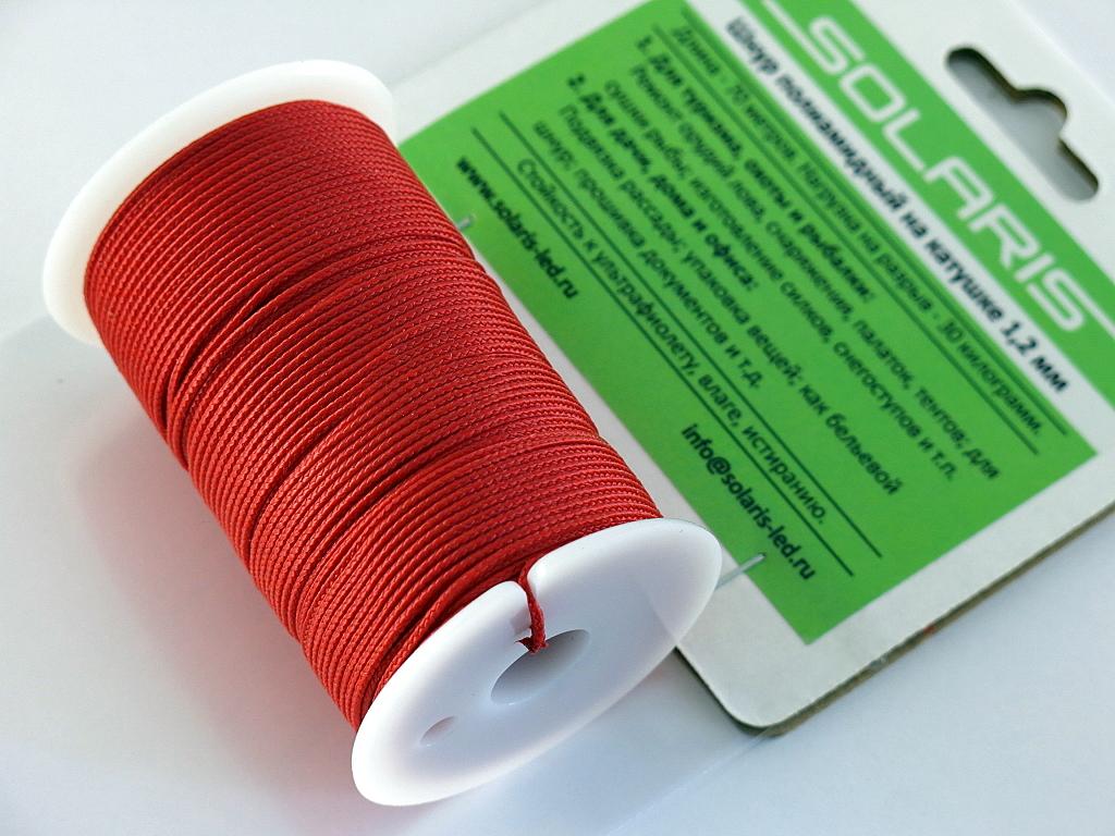 Шнур полиамидный Solaris на катушке, 1,2 мм х 70 м, цвет: красныйS6301rПрочный многоцелевой плетеный шнур из полиамида, выдерживает нагрузку на разрыв 30 кг. Для удобства использования шнур намотан на катушку, на торце катушки есть прорезь для фиксации свободного конца шнура. Шнур диаметром 1,2 мм состоит из восьми плотно сплетенных прядей. Благодаря такой надежной конструкции шнур не расплетается при повреждении одной или даже нескольких прядей. Диаметр шнура 1,2 мм, длина 70 метров.