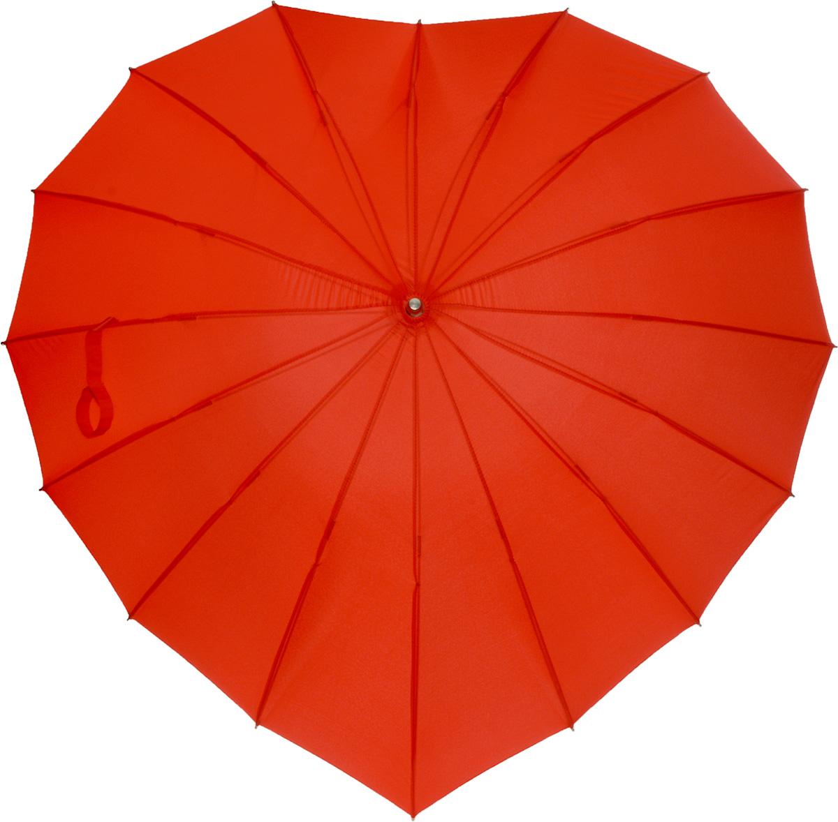 Зонт женский Эврика Сердце, механика, трость, цвет: красный. 93160Колье (короткие одноярусные бусы)Зонт имеет механический тип сложения: открывается и закрывается вручную до характерного щелчка. Удобная ручка выполнена из пластика.