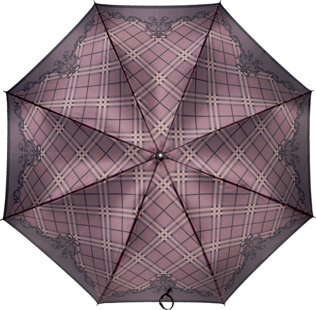 Зонт-трость женский Fabretti, механика, цвет: фиолетовый. 1602REM12-CAM-GREENBLACKЖенский зонт-трость от итальянского бренда Fabretti. Конструкция модели - механика. Эксклюзивный дизайнерский принт зонта сделает вас неотразимыми в любую непогоду! Материал купола - полиэстер. Он невероятно изящен, приятен на ощупь, обладает высокой прочностью, а также устойчив к выцветанию. Эргономичная ручка сделана из высококачественного пластика!