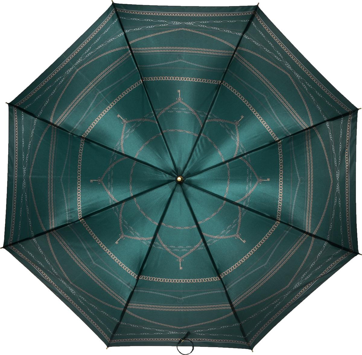 Зонт женский Fabretti, механика, трость, цвет: зеленый. 1608Серьги с подвескамиЖенский зонт-трость от итальянского бренда Fabretti. Конструкция модели - механика. Эксклюзивный дизайнерский принт зонта сделает вас неотразимыми в любую непогоду. Материал купола - полиэстер. Он невероятно изящен, приятен на ощупь, обладает высокой прочностью, а также устойчив к выцветанию. Эргономичная ручка сделана из высококачественного пластика.