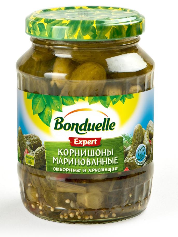 Bonduelle корнишоны маринованные, 340 г3453Традиционная рецептура пряного маринада - кисло-сладкого, сдобренного зернами горчицы и кусочками болгарского перца - добавляет корнишонам Bonduelle особую легкую пикантность, что особенно хорошо, если использовать огурцы как самостоятельную закуску.Уважаемые клиенты! Обращаем ваше внимание, что полный перечень состава продукта представлен на дополнительном изображении.