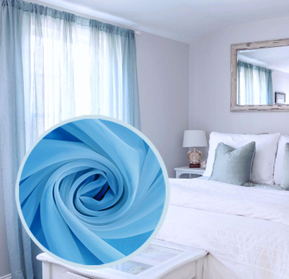 Тюль Amore Mio Однотонный, на ленте, цвет: синий, высота 270 см74652Тюль Amore Mio нежного цвета в классическом однотонном исполнении изготовлен из 100% полиэстера. Воздушная ткань привлечет к себе внимание и идеально оформит интерьер любого помещения. Полиэстер - вид ткани, состоящий из полиэфирных волокон. Ткани из полиэстера легкие, прочные и износостойкие. Такие изделия не требуют специального ухода, не пылятся и почти не мнутся.Крепление к карнизу осуществляется при помощи вшитой шторной ленты.