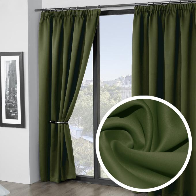 Штора Amore Mio Блэкаут, на ленте, цвет: зеленый, высота 270 см, 2 штSVC-300Штора Amore Mio - плотная, гладкая, мягкая ткань с деликатным сатиновым блеском. Эти портьеры не пропускают солнечный свет и будут идеальным решением для домашнего кинотеатра и спальни. Изготовлена из 100% полиэстера. Полиэстер - вид ткани, состоящий из полиэфирных волокон. Ткани из полиэстера легкие, прочные и износостойкие. Такие изделия не требуют специального ухода, не пылятся и почти не мнутся.Крепление к карнизу осуществляется при помощи вшитой шторной ленты.
