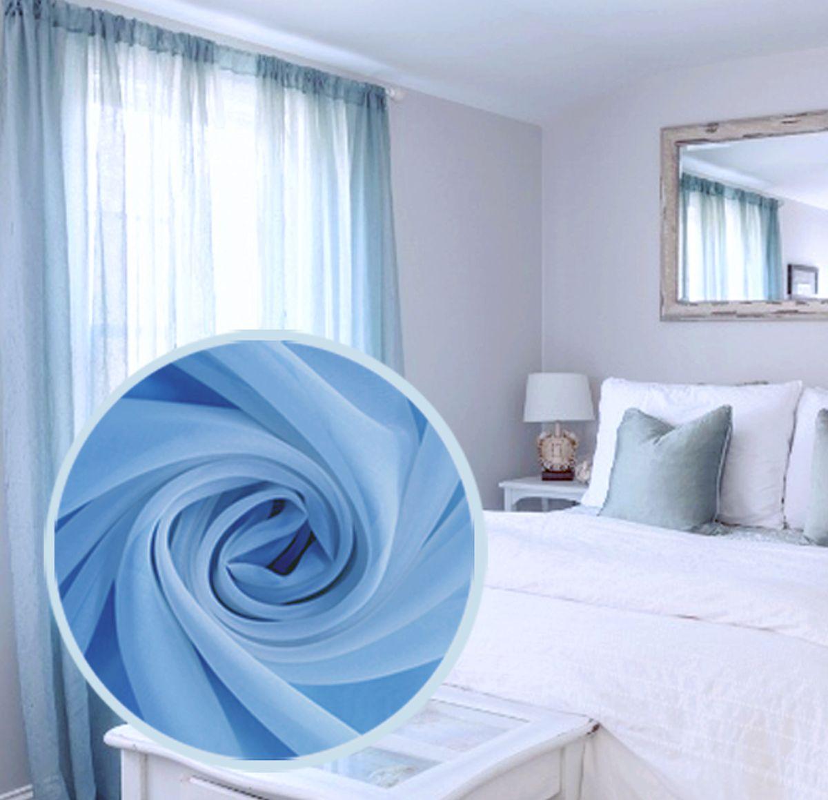 Вуаль Amore Mio Однотонная, 300х270 см, цвет: голубой. 75386956251325Однотонная нежная легкая вуаль голубого цвета - цвета летнего ясного неба. На шторной ленте. Яркий акцент для ваших окон! В комплект входит: Вуаль 300х270