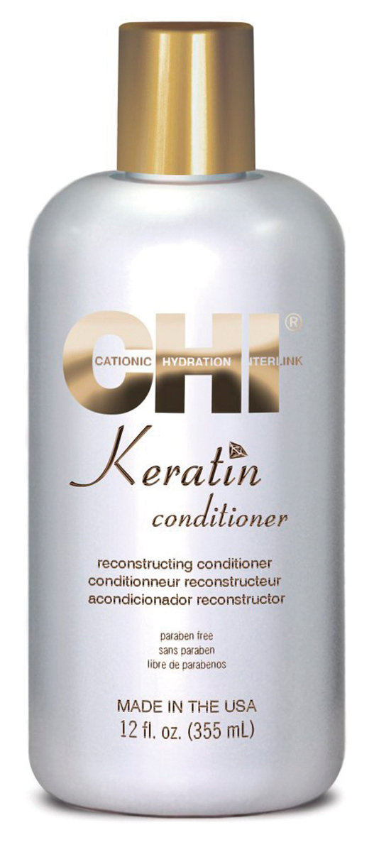 CHI Кератиновый кондиционер Keratin, 355 млFS-00897Кондиционер CHI Keratin питает волосы натуральным кератином, который проникая в структуру волоса, придает эластичность и блеск, увлажняет и защищает волосы.
