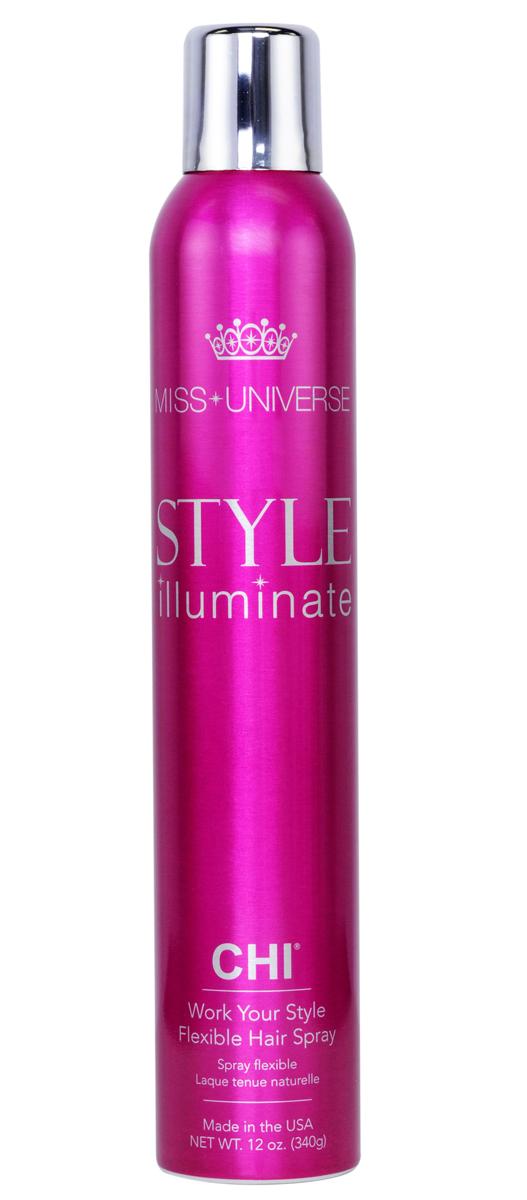 CHI Лак для волос средней фиксации Miss Universe 340г81284215Лак для волос CHI Мисс Вселенная средней фиксации – быстросохнущий легкий фиксирующий лак, который придает объем и текстуру укладке, сохраняя ее подвижной. Также защищает волосы от воздействия влаги и тепла, делая их блестящими как шелк.