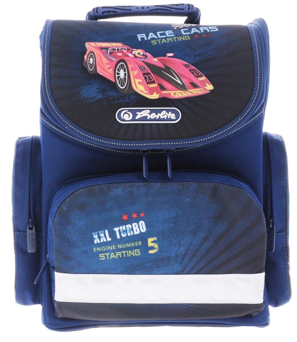 Herlitz Ранец школьный Race Cars72523WDШкольный ранец Herlitz Mini. Race Cars выполнен из легкого и прочного материала.Ранец имеет одно основное отделение, закрывающееся на молнию с двумя бегунками. Клапан полностью откидывается, что существенно облегчает пользование ранцем. На внутренней части клапана находится прозрачный пластиковый кармашек, в который можно поместить данные о владельце ранца.Внутри главного отделения расположена мягкая перегородка для тетрадей или учебников. На лицевой стороне ранца расположен накладной карман на застежке-молнии. По бокам ранца размещены два накладных кармана на молнии.Ортопедическая спинка, созданная по специальной технологии из дышащего материала, равномерно распределяет нагрузку на плечевые суставы и спину. В нижней части спинки расположен поясничный упор - небольшой валик, на который при правильном ношении ранца будет приходиться основная нагрузка.Изделие оснащено удобной ручкой для переноски в руке и двумя широкими лямками, регулируемой длины. У ранца имеются светоотражатели. Дно ранца из прочного материала легко очищается от загрязнений.Многофункциональный школьный ранец станет незаменимым спутником вашего ребенка в походах за знаниями.Вес ранца без наполнения: 1 кг.Рекомендуемый возраст: от 6 лет.