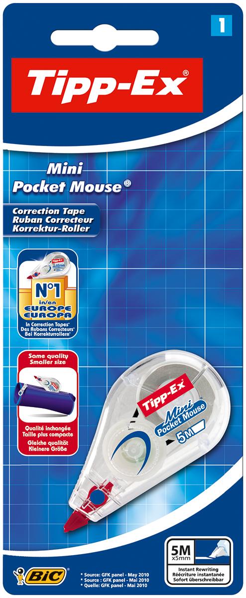 Bic Корректирующая лента Tipp-Ex Mini Pocket Mouse 5 м х 5 ммFS-54115Благодаря эргономичной форме корпуса данная корректирующая лента наносится равномерно и удобно. Аппликатор расположен под наклоном - вы видите, что корректируете! Подходит как правшам, так и левшам.