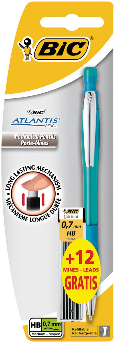 Bic Карандаш механический Atlantis со сменными грифелями цвет корпуса бирюзовый72523WDМеханический карандаш Bic Atlantis будет вашим незаменимым помощников в школе, офисе и дома.Благодаря выдвижному пишущему узлу карандаш не пачкается. Прорезиненный грип исключает скольжение пальцев во время письма, обеспечивая комфорт. Специальный ластик для графита встроен в кнопку карандаша. В комплект также входит контейнер с 12 запасными грифелями.