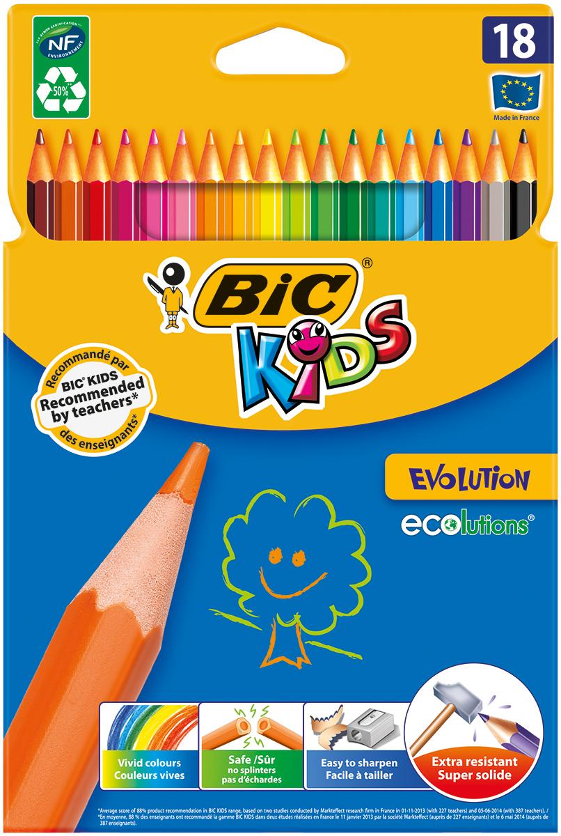 Bic Набор цветных карандашей Evolution 18 цветовВ937513Набор цветных карандашей Bic Evolution идеален для ежедневного использования маленькими художниками!В наборе карандаши 18 ярких цветов. Ультрапрочные цветные карандаши изготовлены без использования древесины. Цветной стержень обеспечивает отличную степень закрашивания.
