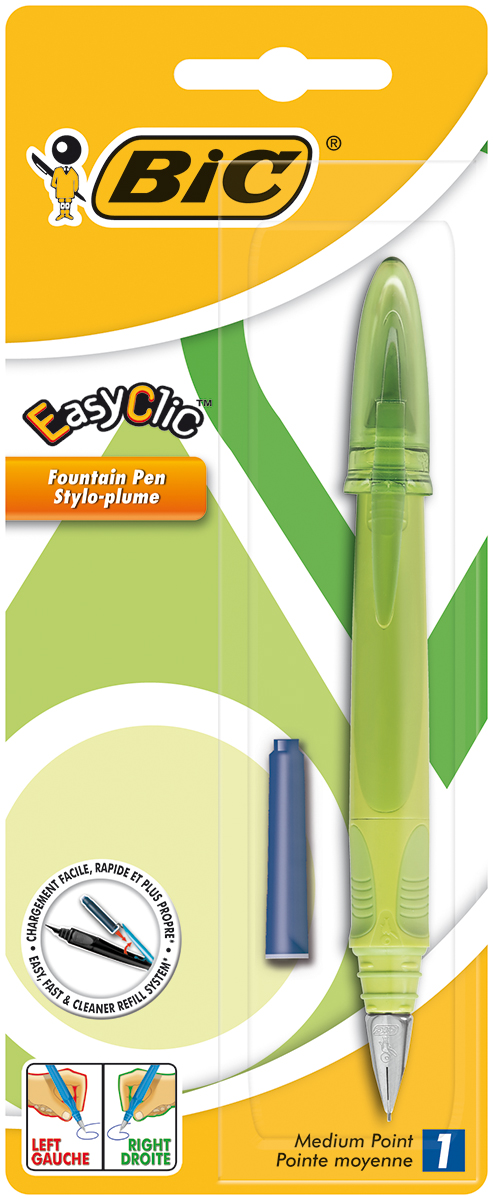 Bic Ручка перьевая Easy Click Classic цвет корпуса салатовыйFS-00103Перьевая ручка Bic Easy Click Classic с пишущим узлом средней толщины. Ручка снабжена инновационной удобной системой замены картриджа (стандартного). Стальной ирридиевый пишущий узел позволяет чертить линии толщиной 0,5 мм.