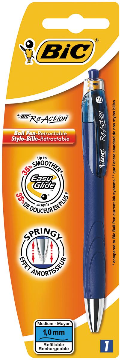 Bic Ручка шариковая Re Action цвет корпуса синийB8575252Автоматическая шариковая ручка Bic Re Action имеет удобную форму с комфортным покрытием корпуса. Пишущий узел диаметром 0,7 мм позволяет наносить линии толщиной 0,35 мм.