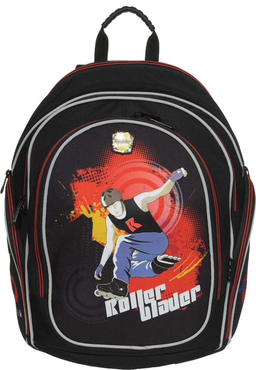 MagTaller Рюкзак детский Cosmo II Roller Blader20412-18Детский рюкзак MagTaller Cosmo II Roller Blader выполнен из надежных износостойких тканей - нейлона и полиэстера.Эргономичная спинка рюкзака дополнительно усилена рамкой из алюминия, повторяющей естественный изгиб позвоночника. Дно выполнено из PVC, а ножки - из прочного пластика, они надежно защищают содержимое рюкзака от воды и грязи. Уплотненные регулируемые лямки уменьшают нагрузку на плечи ребенка. Фиксаторы лямок позволяют закрепить концы лямок при помощи пластиковых крючков. Светоотражающие элементы уменьшают риск ДТП в темное время суток.Рюкзак содержит два вместительных отделения, закрывающихся на застежки-молнии. В первом отделении находится пришивной карман на молнии, во втором отделении находится органайзер, предназначенный для хранения мобильного телефона, пишущих принадлежностей и других мелочей, также здесь находится лента с карабином для ключей. Дно рюкзака можно сделать более устойчивым, разложив специальную панель.На лицевой стороне находится вместительный карман на молнии, по бокам - два кармана на молниях. Рюкзак имеет эргономичную ручку для переноски в руке.