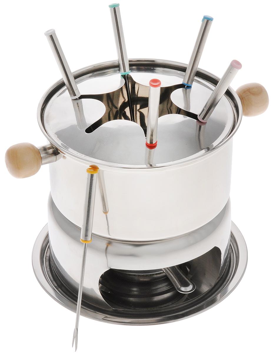 Набор для фондю Mayer & Boch, 11 предметов. 23356VT-1520(SR)Набор для фондю Mayer & Boch, выполненный из нержавеющей стали, рассчитан на 6 персон. В состав входят кастрюля для фондю с удобными деревянными ручками, кольцо для вилочек, горелка с заслонкой, шесть вилок и подставка. Данный набор прекрасно будет смотреться на столе и придаст вашему празднику, коктейльной вечеринке или интимному ужину праздничное настроение. Используйте этот набор для приготовления сырных и сладких смесей для фондю. Нарежьте кусочки хлеба, мяса, овощей, бананов, клубники, ананаса или зефира на кубики. Этот универсальный набор позволит каждому из ваших гостей насладиться тем продуктом, который им нравится больше всего, а также каждому предоставит возможность побыть своим личным шеф-поваром. Вы получите огромное удовольствие при приготовлении продуктов с помощью набора для фондю в любое время.Можно мыть в посудомоечной машине.Диаметр кастрюли (по верхнему краю): 16 см.Диаметр основания кастрюли: 14 см.Высота стенок кастрюли: 7,5 см.Диаметр кольца для вилочек: 15 см.Длина 5 вилок - 15 см. Длина 1 вилки - 14,5 см.Диаметр подставки (по верхнему краю): 13 см.Диаметр дна подставки: 18 см.Высота подставки: 7 см.Размер конфорки: 12,5 см х 8 см х 4 см.Размер заслонки: 11,5 х 6 х 1,5 см.