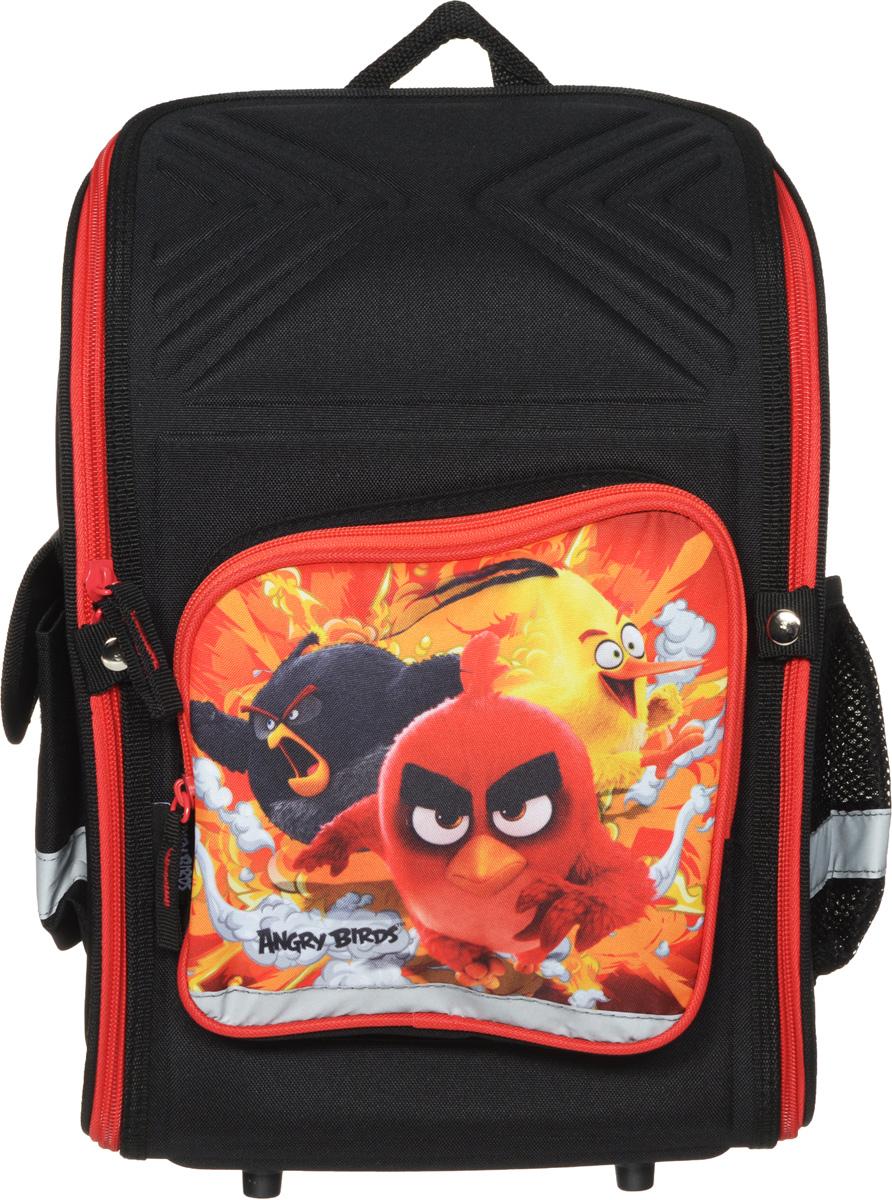 Angry Birds Ранец школьный цвет черный красный72523WDШкольный ранец Angry Birds с изображением героев известного одноименного мультфильма. Ранец представлен в виде трансформера. Он может полностью раскладываться.Изделие содержит одно вместительное отделение, закрывающееся клапаном на застежку-молнию с двумя бегунками. Внутри отделения находятся две мягкие перегородки на резинке и открытый карман-сетка. На лицевой стороне расположен накладной карман на молнии. По бокам находятся два кармана: один закрывается клапаном на липучке, второй – открытый. Полужесткий каркас и форма спинки способствуют равномерному распределению нагрузки и формированию правильной осанки. Мягкие анатомические лямки позволяют легко и быстро отрегулировать ранец в соответствии с ростом. У ранца имеется текстильная ручка для переноски в руке. Прочное дно с пластиковыми ножками обеспечивает ранцу хорошую устойчивость. Светоотражающие элементы не оставят незамеченным вашего ребенка в темное время суток.Вес ранца без наполнения менее 900 г.
